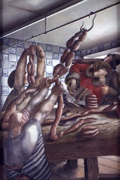 Sausage shop by Sir Stanley Spencer R.A. (1891-1959),  oil painting on canvas, 1951