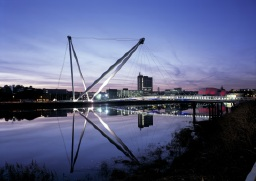 Newport's footbridge at night