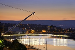 Sunset image of the River Usk in Newport city centre