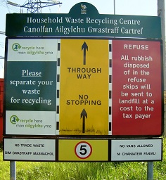 Image of the household waste recycling centre entrance sign